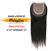 Sensationnel Malaysian Virgin Remy Human Hair Weave Bare AMP; Natural 4X4 Swiss Full Lace Top Straight 12