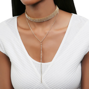 Layered Rhinestone Statement With Long Drop Choker