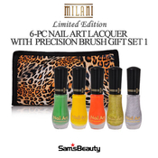 MILANI 6PC GIFT SET NAIL ART LACQUER with precision brush