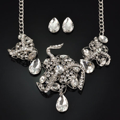Magnificent Ribboned Flower Rhinestone Necklace and Earrings
