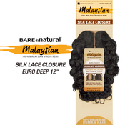 Sensationnel Malaysian Virgin Remy Human Hair Weave BareAMP;Natural Silk Lace Closure Euro Deep 12