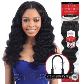 Saga Human Hair Crochet Braids Pre Loop Type Loose Deep