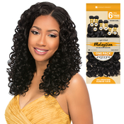 Sensationnel Unprocessed Malaysian Virgin Remy Human Hair Weave Bare AMP; Natural Ocean Curl 6PcsFree Closure