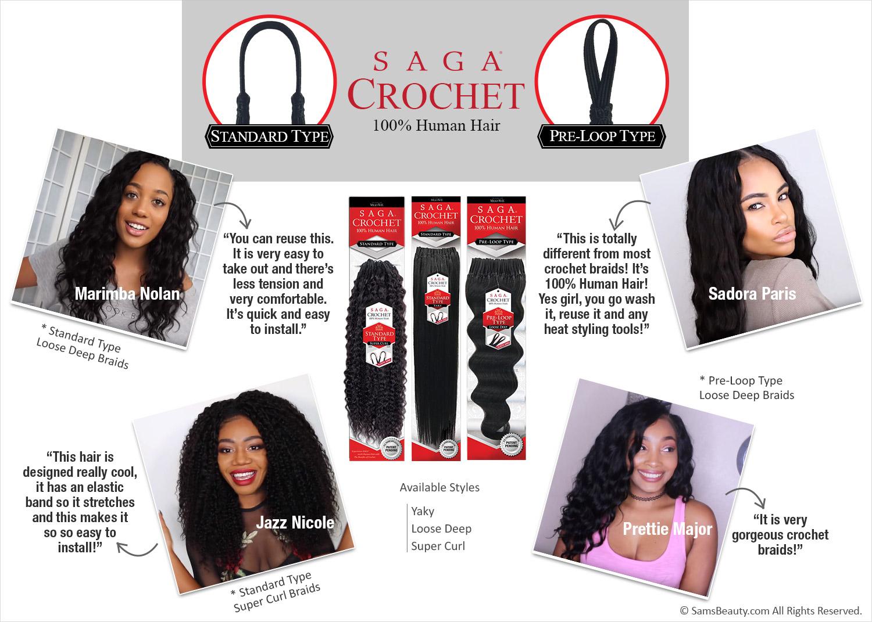 Saga Human Hair Crochet Braids Pre Loop Type Yaky Samsbeauty