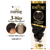Sensationnel Human Hair Weave Empire 3Way Parting Lace Closure Loose Deep 12