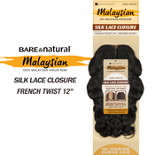 Sensationnel Malaysian Virgin Remy Human Hair Weave BareAMP;Natural Silk Lace Closure French Twist 12