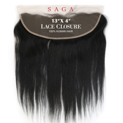Saga Human Hair Weave 13X4 Lace Frontal Closure Yaky
