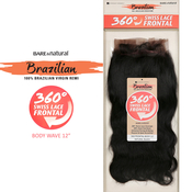 Sensationnel Brazilian Virgin Remy Human Hair Weave BareAMP;Natural 360 Swiss Lace Frontal Closure Body 12