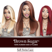 ISIS Human Hair Blend Lace Front Wig Brown Sugar Soft Swiss Lace BS202