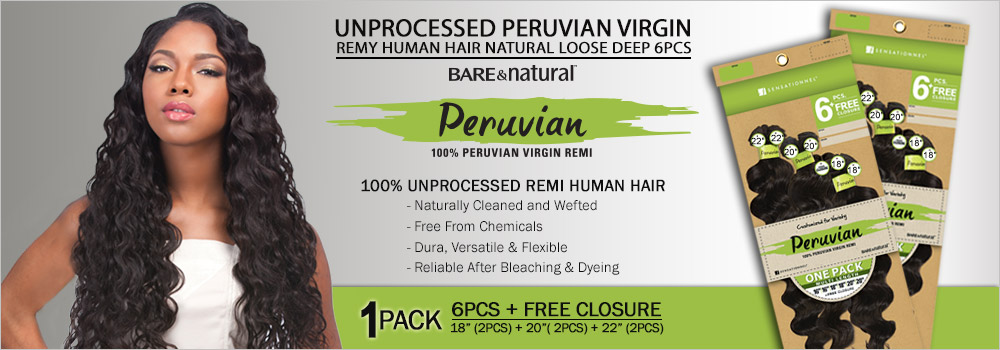 Sensationnel Unprocessed Peruvian Virgin Remy Human Hair Weave