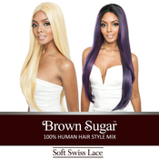 ISIS Human Hair Blend Lace Front Wig Brown Sugar Soft Swiss Deep Part Lace BS293