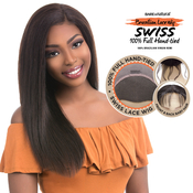 Sensationnel Unprocessed Brazilian Virgin Remy Human Hair Lace Front Wig Bare AMP; Natural Swiss Full HandTied Straight 22