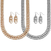 Double Curb Chain Necklace and Earrings Set