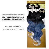Bare Nature Synthetic Hair Weave Brazilian Bundle Hair Natural Wave 4Pcs 141618 Free Closure