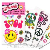 Girlie Nails Peace Out 8 Pcs Temporary Tattoos