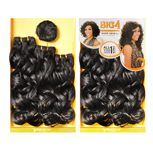 Harlem125 human hair blend weave big 4 deep spiral 4pcs samsbeauty hair color shown 1b pmusecretfo Images