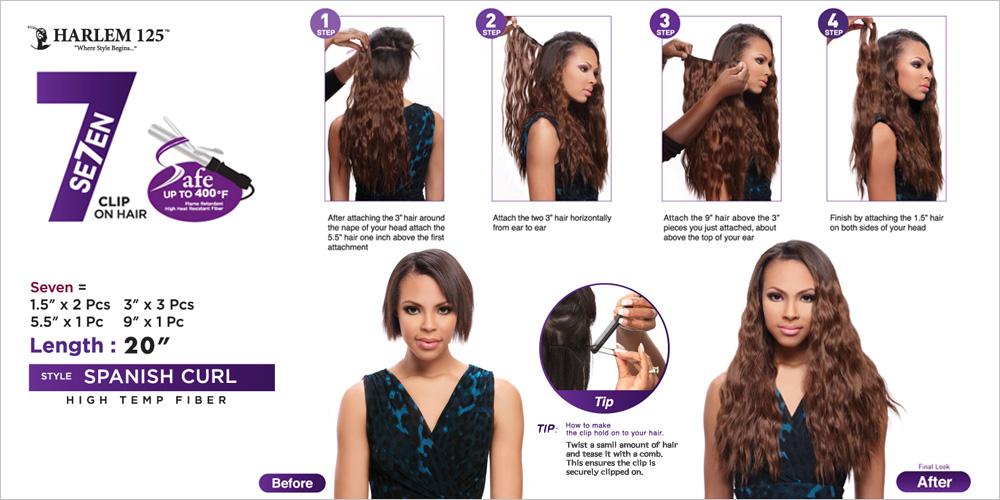 Harlem125 Synthetic Hair Clip On Weave Se7en Spanish Curl 20 7pcs