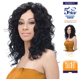 Indian Remi Hair Weave Harlem125 Wet Wavy 5 Star Ripple Deep 5pcs