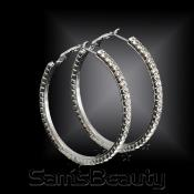 1Line Crystal Hoop Earrings Silver Tone  Choose Your Size