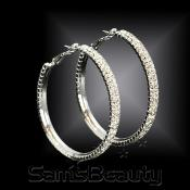 2 Line Crystal Hoop EarringsSilver Tone  Choose Your Size