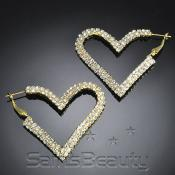 Flat 2Line Rhinestone Heart EarringsGold Tone  Choose Your Size