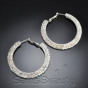 Flat 2Line Crystal Hoop EarringsSilver Tone  Choose Your Size