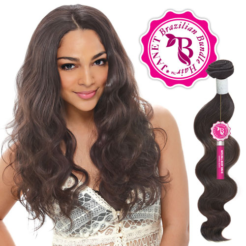 Janet unprocessed brazilian virgin remy human hair weave bombshell hair length color shown 18 20 natural d brown pmusecretfo Image collections