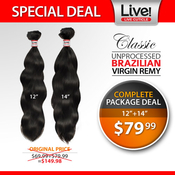 Live Classic Unprocessed Brazilian Virgin Remy Human Hair Weave Natural Wave Special Deal 1214
