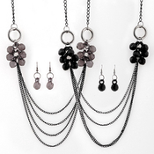 Layered Faceted Beads Necklace and Earrings