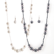 Pearlescent Seed Beads Necklace and Earrings