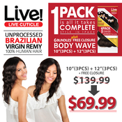 LIVE Unprocessed Brazilian Virgin Remy Human Hair Weave Body Wave All in 1 Pack 6 Bundles  Free Closure 1012