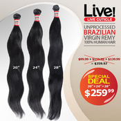 Live Unprocessed Brazilian Virgin Remy Human Hair Weave Natural Wave Special Deal 20 2428