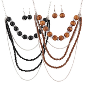 Layered Wood Beads Necklace and Earrings