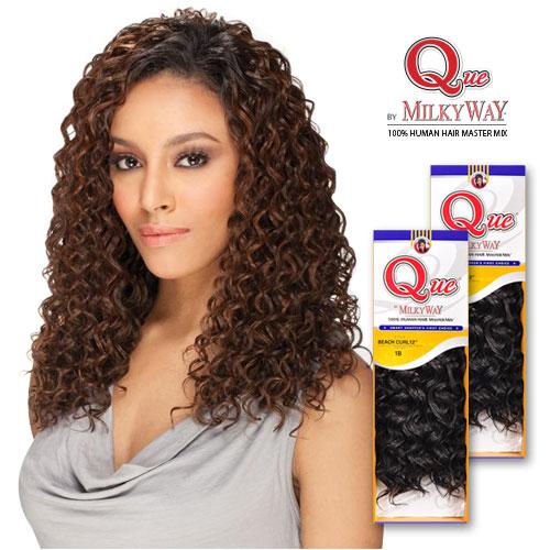 Milky Way Que Human Hair Blend Weave Beach Curl SamsBeauty