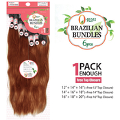 ORemi Unprocessed Brazilian Virgin Remy Human Hair Weave Natural Wave 6Pcs  Free Top Closure