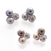 Rhinestone Ball with Pearlescent Combo Earrings