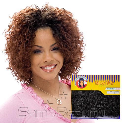 Human hair weave milky way short cut series ripple curl 3pcs hair color shown t4233 pmusecretfo Gallery