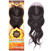 Royal Zury Unprocessed Indian Human Hair Weave Indian Temple Lace Closure Straight 14