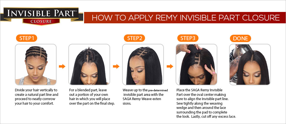 Saga Remy Human Hair Weave Lace Invisible Part Closure Samsbeauty