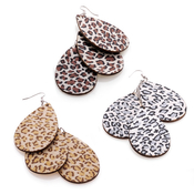 Wooden Animal Print Thriple Drop Earrings