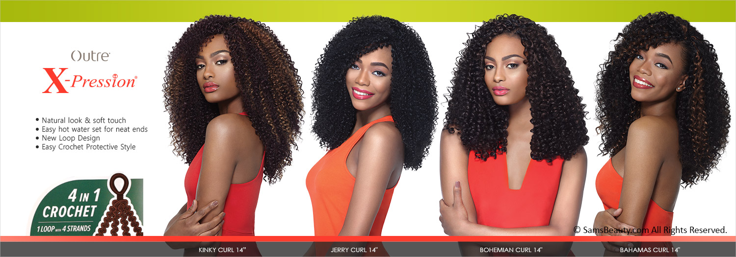 Outre Synthetic Hair Crochet Braids X Pression Braid 4 In 1 Loop Curl 14